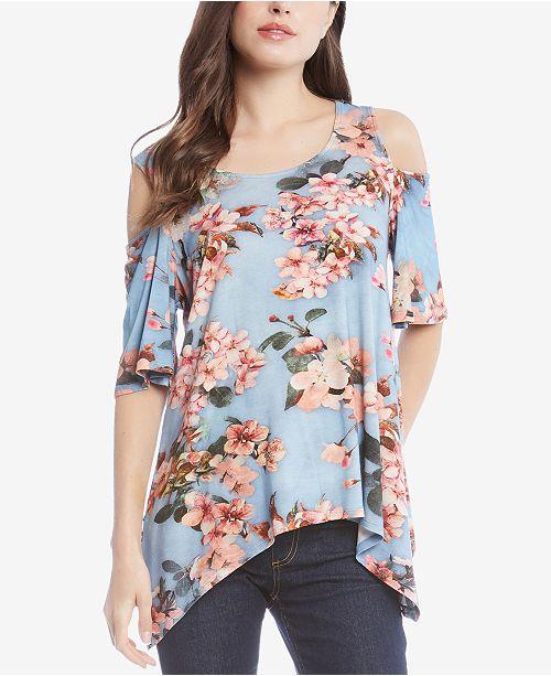 9d7877517d53b Karen Kane Floral Fresco Cold-Shoulder Top   Reviews - Tops - Women ...