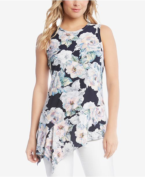 Asymmetrical Floral Tank Top Karen Kane Find Great For Sale Sale Best Place Low Price Fee Shipping Cheap Price gn06GZl