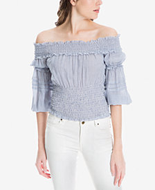 Max Studio London Smocked Off-The-Shoulder Top, Created for Macy's