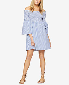 Sanctuary Cotton Striped Off-The-Shoulder Dress