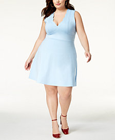 Monteau Trendy Plus Size Scalloped Fit & Flare Dress