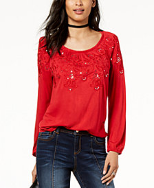 I.N.C. Sequined Embroidered Top, Created for Macy's