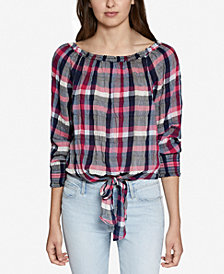 Sanctuary Plaid Tie-Front Top