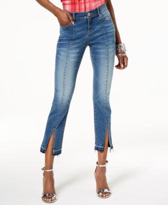 INC International Concepts Split-Hem Cropped Jeans