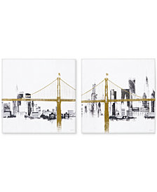 INK+IVY 'Bridge & Skyline' 2-Pc. Canvas Wall Art with Metallic Foil Embellishment