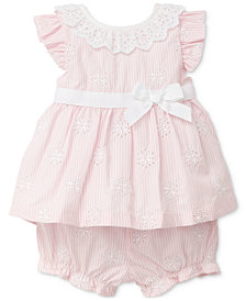 Little Me 2-Pc. Daisy & Lace Outfit, Baby Girls