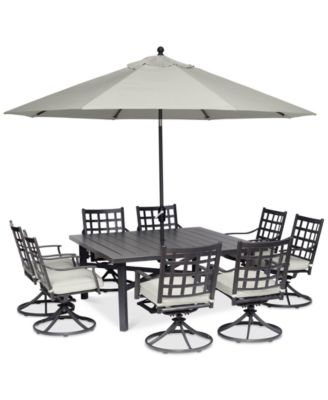 """Highland Aluminum Outdoor 9-Pc. Dining Set (64"""" Square Dining Table and 8 Swivel Rockers) with Sunbrella® Cushions, Created for Macy's"""