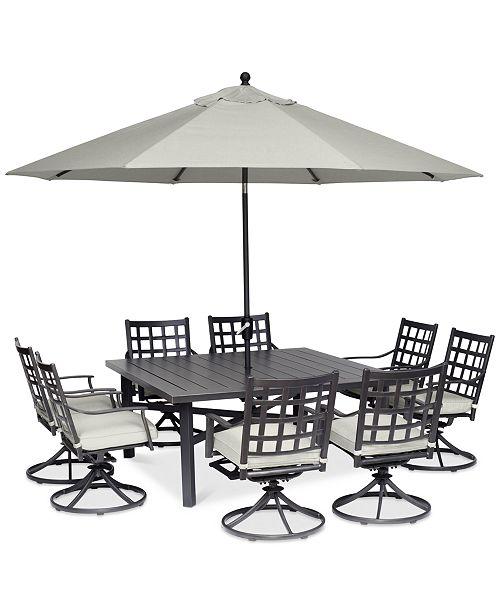 Furniture Highland Aluminum Outdoor 9 Pc Dining Set 64 Square