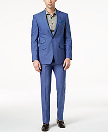 Tallia Orange Men's Slim-Fit Blue Solid Suit