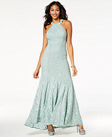 B Darlin Juniors' Glitter Lace Strap-Detailed Gown, Created for Macy's
