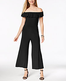 Love Scarlett Petite Off-The-Shoulder Ruffle Jumpsuit, Created for Macy's