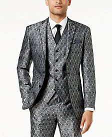 Tallia Orange Men's Big & Tall Modern-Fit Black Medallion Suit Jacket