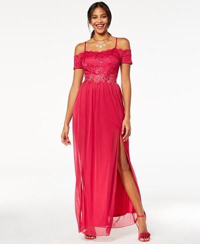 BCX Juniors' Sequin Lace Off-The-Shoulder Gown