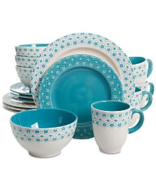 Gibson General Store Cottage Chic Blue 16-Pc. Dinnerware Set