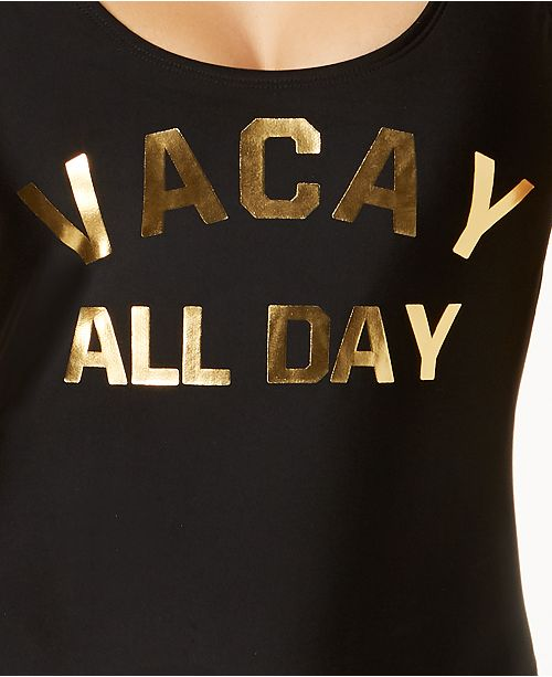 Created Black Graphic Juniors' Cheeky for Piece California Waves Metallic One Swimsuit Macy's 8WfxTn