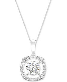 MAGNIFICENCE Diamond Open Halo Pendant Necklace (1/6 ct. t.w.) in 14k White Gold