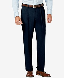 J.M. Sharkskin Classic-Fit Pleated Hidden Expandable Waistband Dress Pants