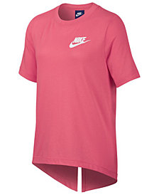 Nike Logo-Print Split-Back T-Shirt, Big Girls