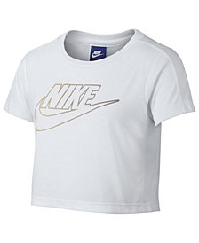 Nike Sportswear Logo-Print Cropped T-Shirt, Big Girls