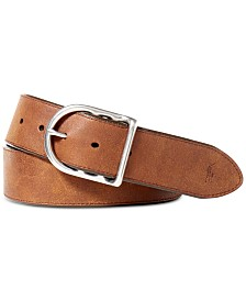 Polo Ralph Lauren Men's Accessories, Distressed Leather Centerbar Buckle Belt