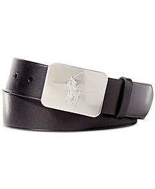Men's Belt, Vacchetta Leather Logo Plaque