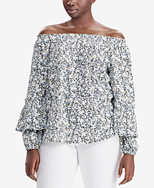 Lauren Ralph Lauren Plus Size Off-The-Shoulder Floral-Print Cotton Top