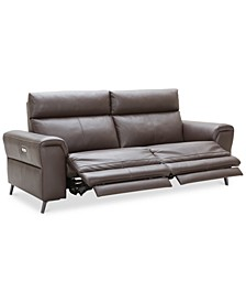 """CLOSEOUT! Raymere 86"""" 2-Pc. Leather Sectional Sofa With 2 Power Recliners, Power Headrests And USB Power Outlet, Created for Macy's"""