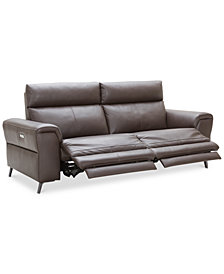 "Raymere 86"" 2-Pc. Leather Sectional Sofa With 2 Power Recliners, Power Headrests And USB Power Outlet, Created for Macy's"