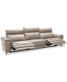 CLOSEOUT! Raymere 3-Pc. Leather Sectional Sofa With 2 Power Recliners, Power Headrests And USB Power Outlet, Created for Macy's