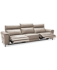 Raymere 3-Pc. Leather Sectional Sofa With 2 Power Recliners, Power Headrests And USB Power Outlet, Created for Macy's