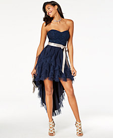 Teeze Me Juniors' Glitter Cascade Strapless High-Low Dress