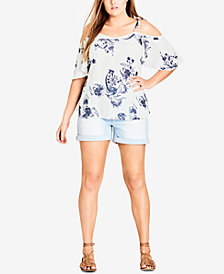 City Chic Trendy Plus Size Cold-Shoulder Top