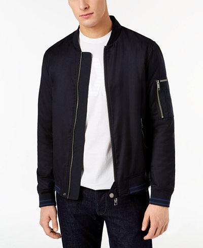 Armani Exchange Men's Blouson Leather Bomber Jacket