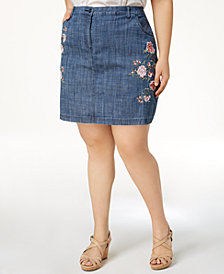 Karen Scott Plus Size Embroidered A-Line Skort, Created for Macy's