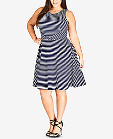 City Chic Trendy Plus Size Striped Dress