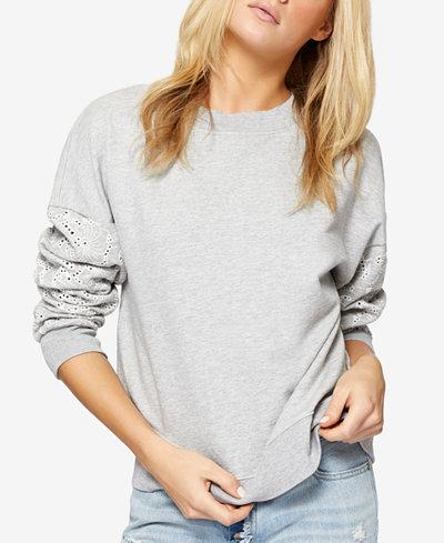 Sanctuary Flora Cotton Eyelet-Sleeve Sweatshirt