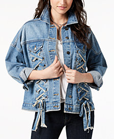 Moon River Cotton Lace-Up Denim Jacket