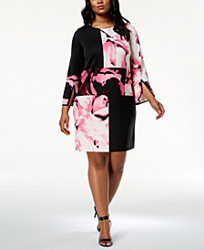 Alfani Plus Size Colorblocked Dress, Created for Macy's