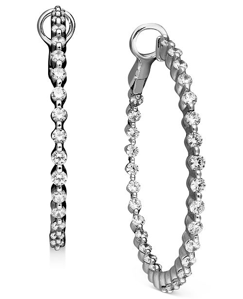 Macy's Diamond Hoop Earrings in 14k White Gold (2 ct. t.w.)