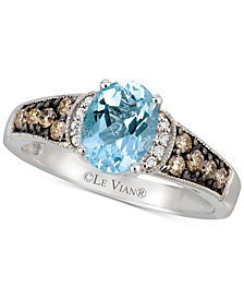 Le Vian® Aquamarine (9/10 ct. t.w. & Diamond (1/4 ct. t.w.) in 14k White Gold