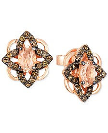 Chocolatier® Peach Morganite™ (5/8 ct. t.w.) & Diamond (1/3 ct. t.w.) Stud Earrings in 14k Rose Gold