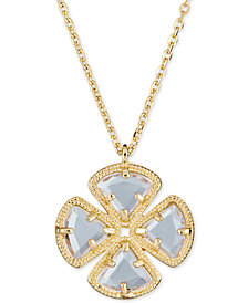 "Sky Blue Topaz Clover Pendant Necklace (3-5/8 ct. t.w.) in Sterling Silver, 16"" + 1"""
