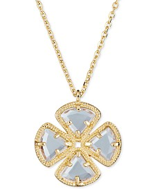 """Sky Blue Topaz Clover Pendant Necklace (3-5/8 ct. t.w.) in Sterling Silver, 16"""" + 1"""""""