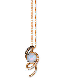"Le Vian Chocolatier® Neopolitan Opal™ (1 ct. t.w.) & Diamond (1/3 ct. t.w.) 18"" Pendant Necklace in 14k Rose Gold"