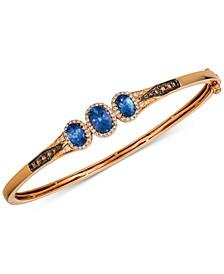 Chocolatier® Blueberry Tanzanite® (1-1/3 ct. t.w.) & Diamond (1/2 ct. t.w.) Bangle Bracelet in 14k Rose Gold