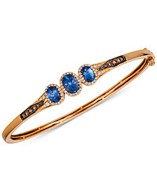 Le Vian Chocolatier® Blueberry Tanzanite® (1-1/3 ct. t.w.) & Diamond (1/2 ct. t.w.) Bangle Bracelet in 14k Rose Gold