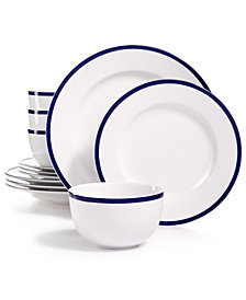 CLOSEOUT! Martha Stewart Collection Blue Rim 12-Pc. Dinnerware Set, Service for 4, Created for Macy's