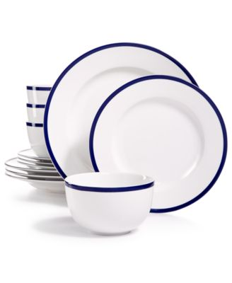 main image; main image ...  sc 1 st  Macy\u0027s & Martha Stewart Collection Blue Rim 12-Pc. Dinnerware Set Service ...