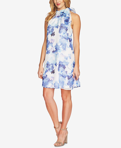 CeCe Printed Tie-Neck Dress