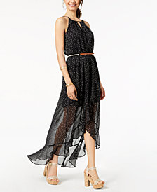 BCX Juniors' Belted Polka-Dot Maxi Dress
